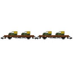 2 wagons plats chargés de 2...