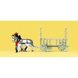 Charette tirée par un cheval