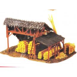 Hangar à bois avec du bois...